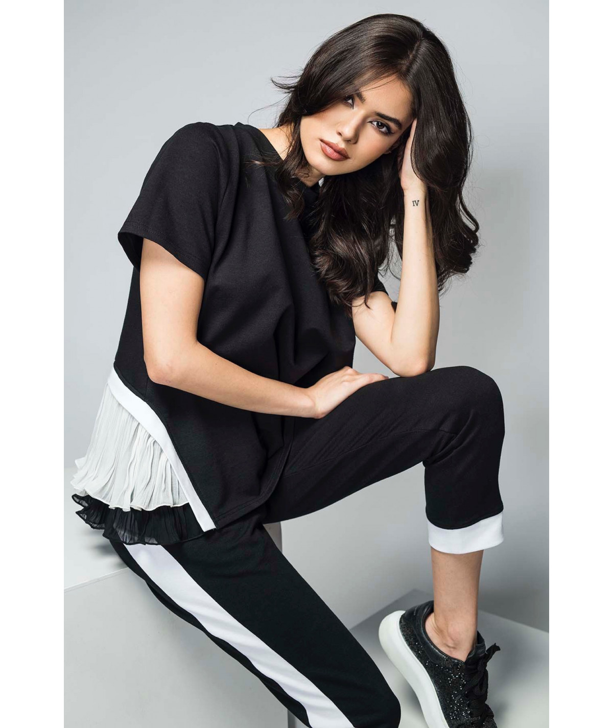 Black cotton tracksuit with...