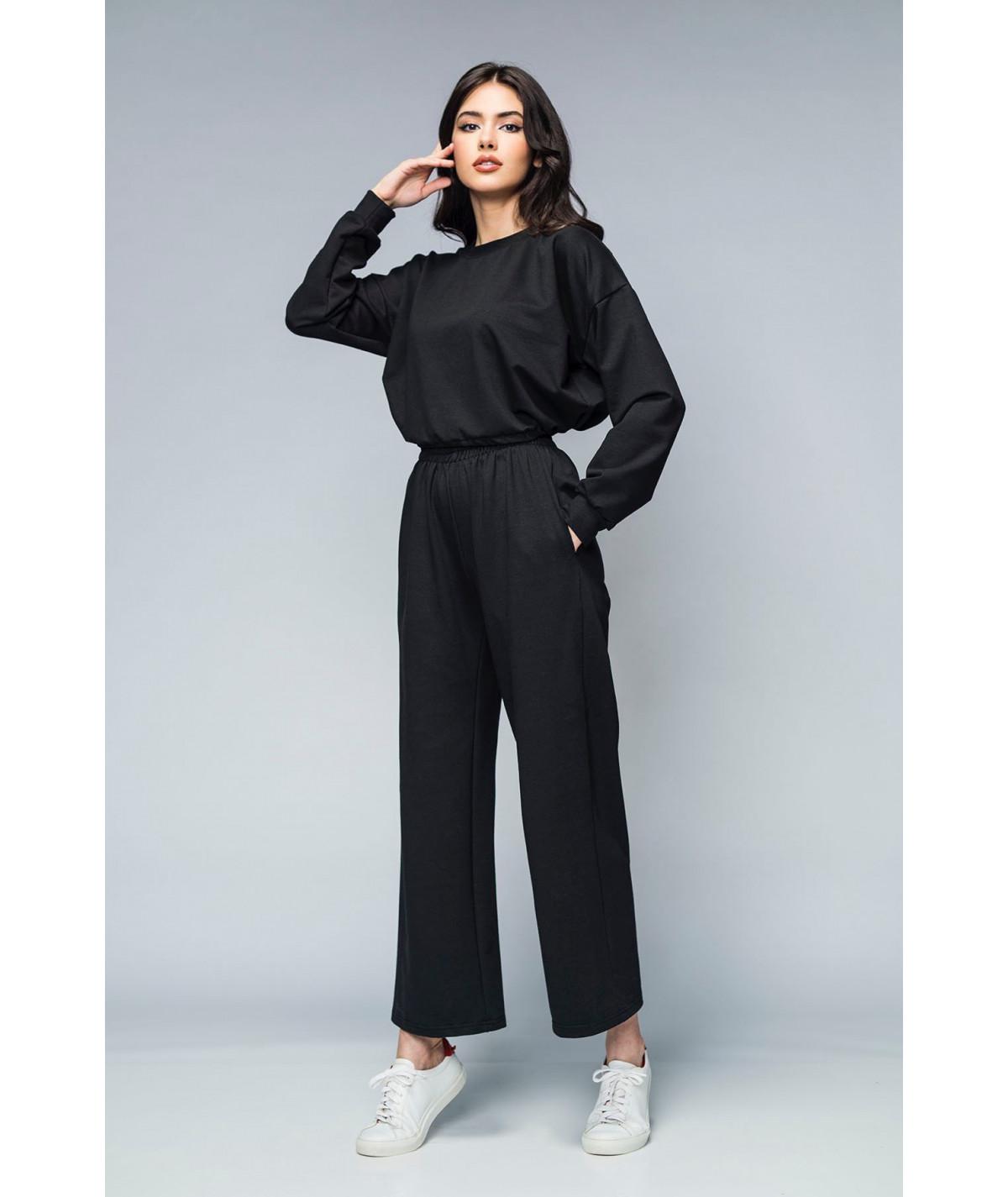 Women's black cropped knit...