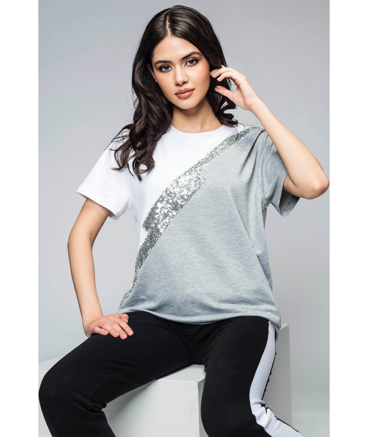 White and grey sequin embellished cotton t-shirt