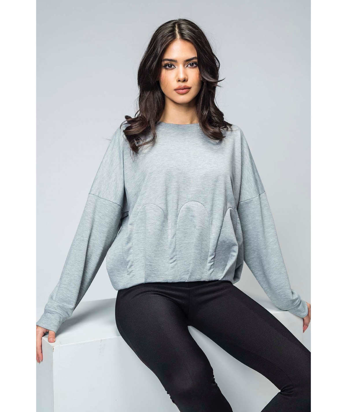 Grey cotton blouse with...