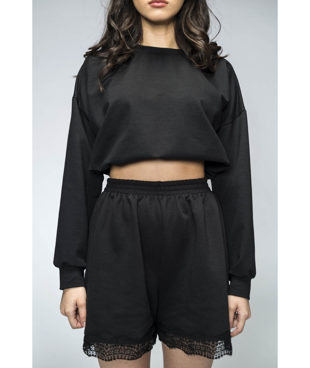 Black cotton shorts with...