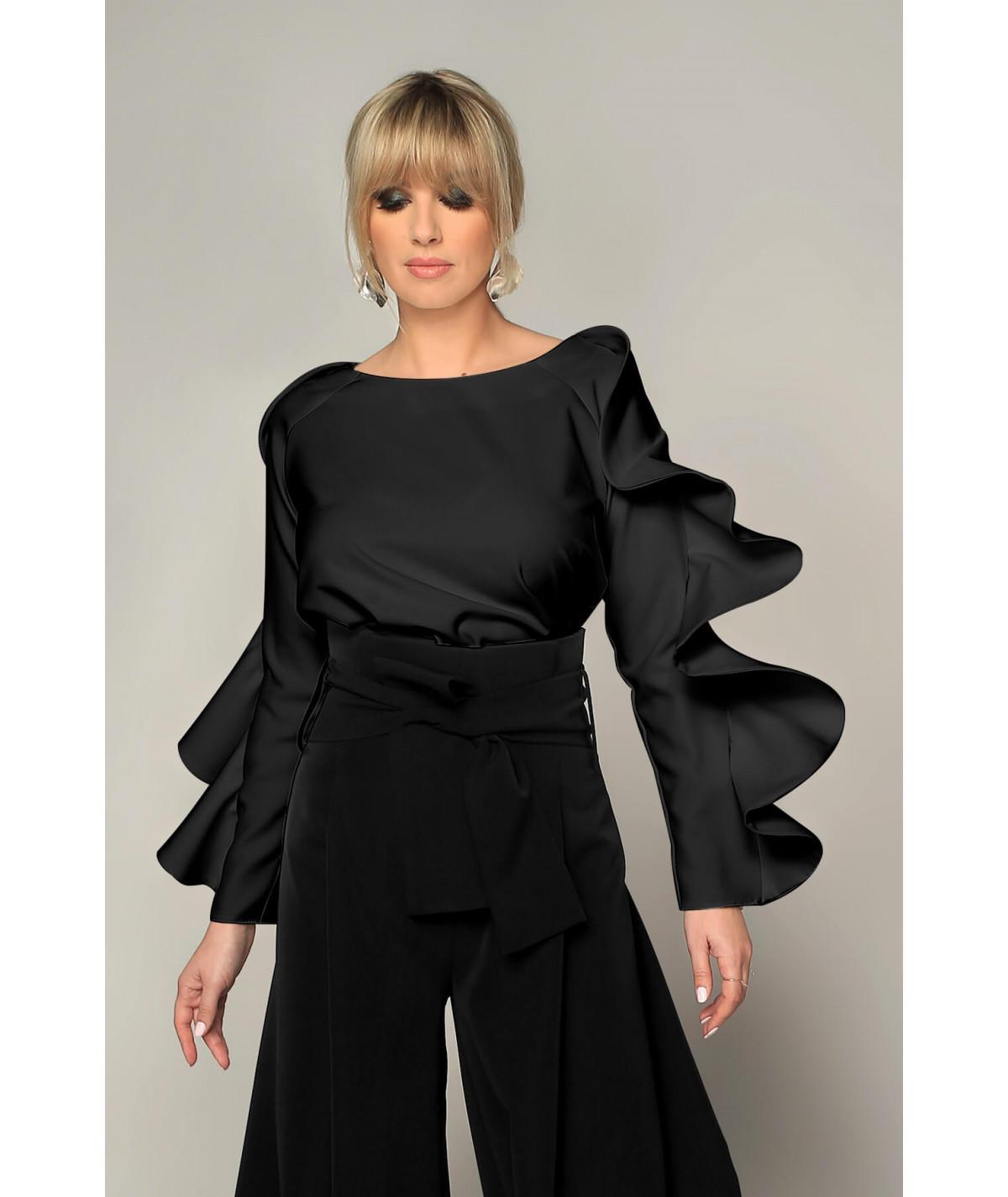 Black long sleeve ruffle...
