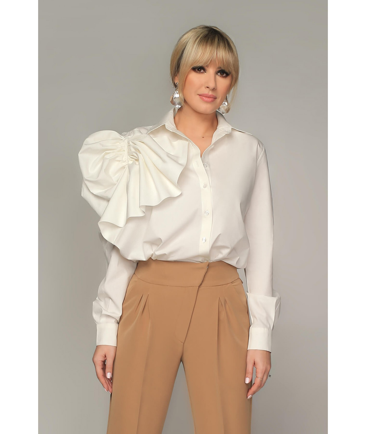 White poplin shirt with...