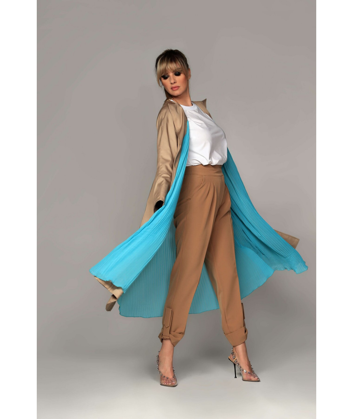 Two-sided beige trench coat