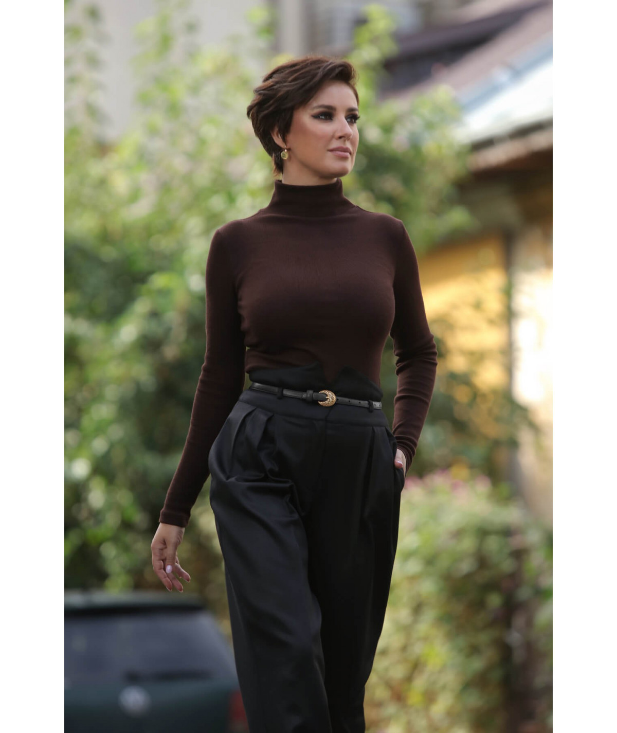 Fabric trousers with high...