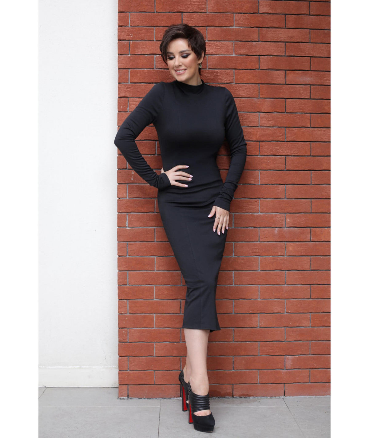 Ribbed tube knit dress - Black