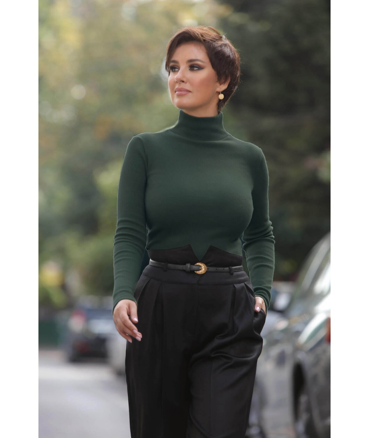 High neck ribbed jersey...