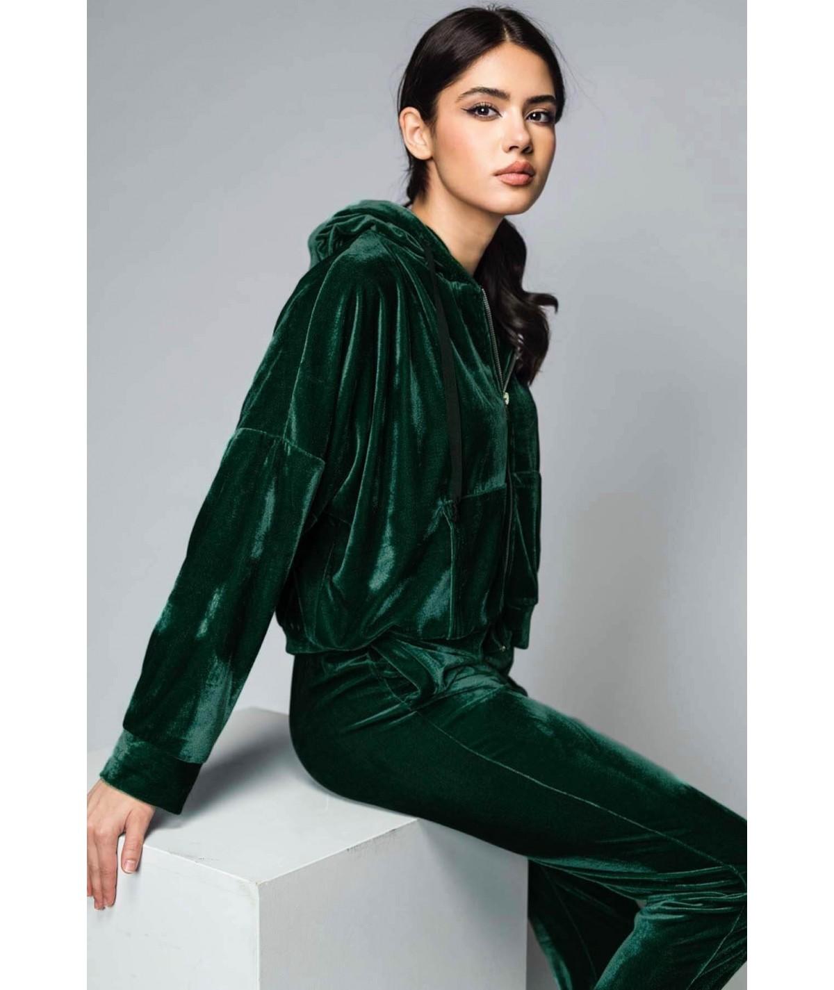 Women's green velvet hooded...