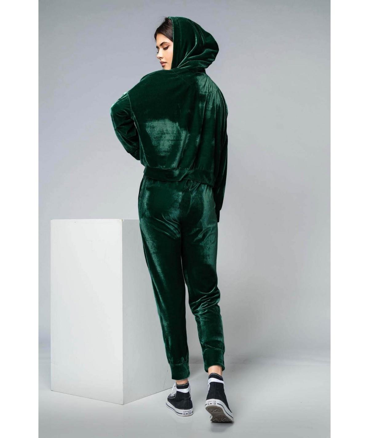 Women's green velvet...