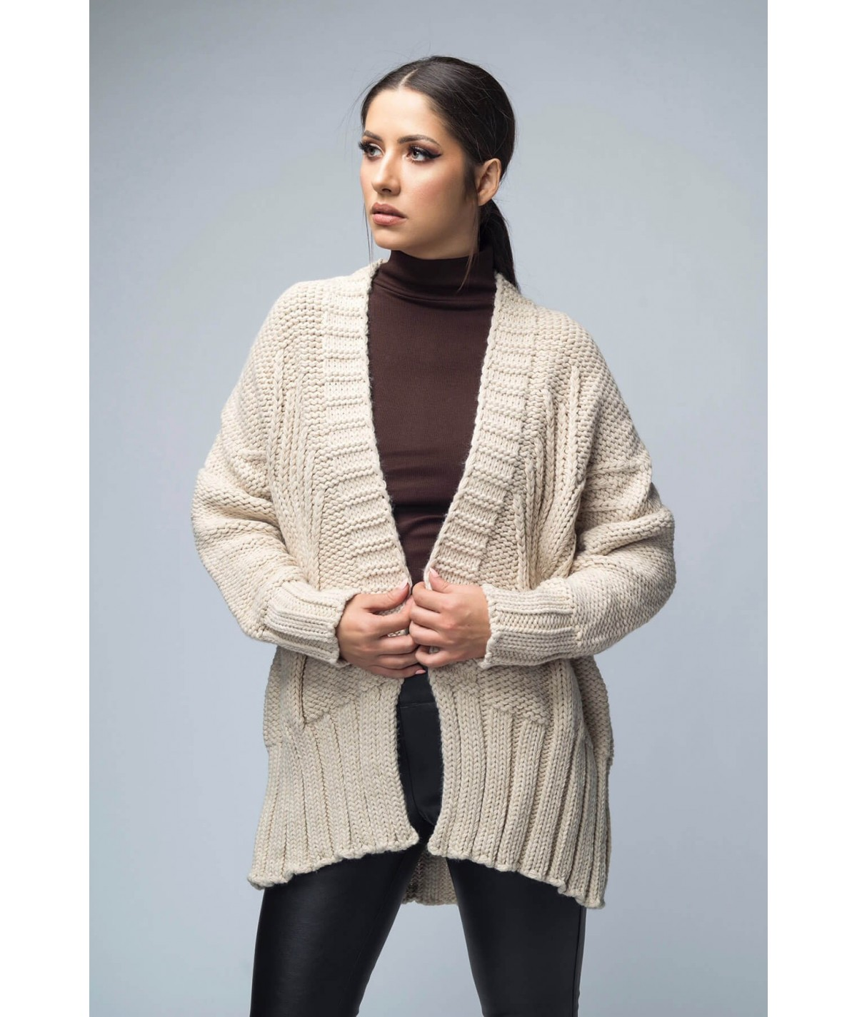 Oversized knitted cardigan...