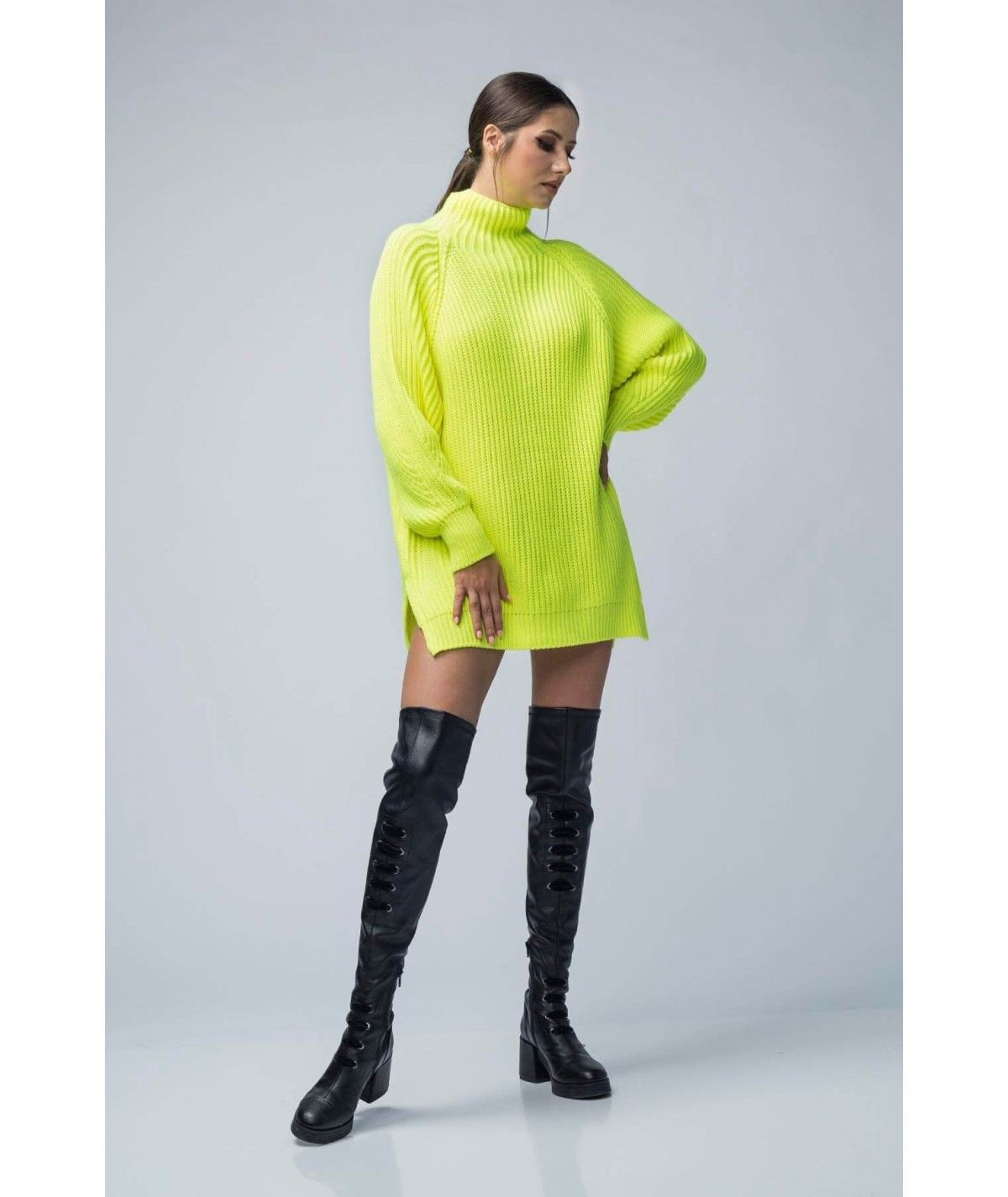 Oversized sweater with high...