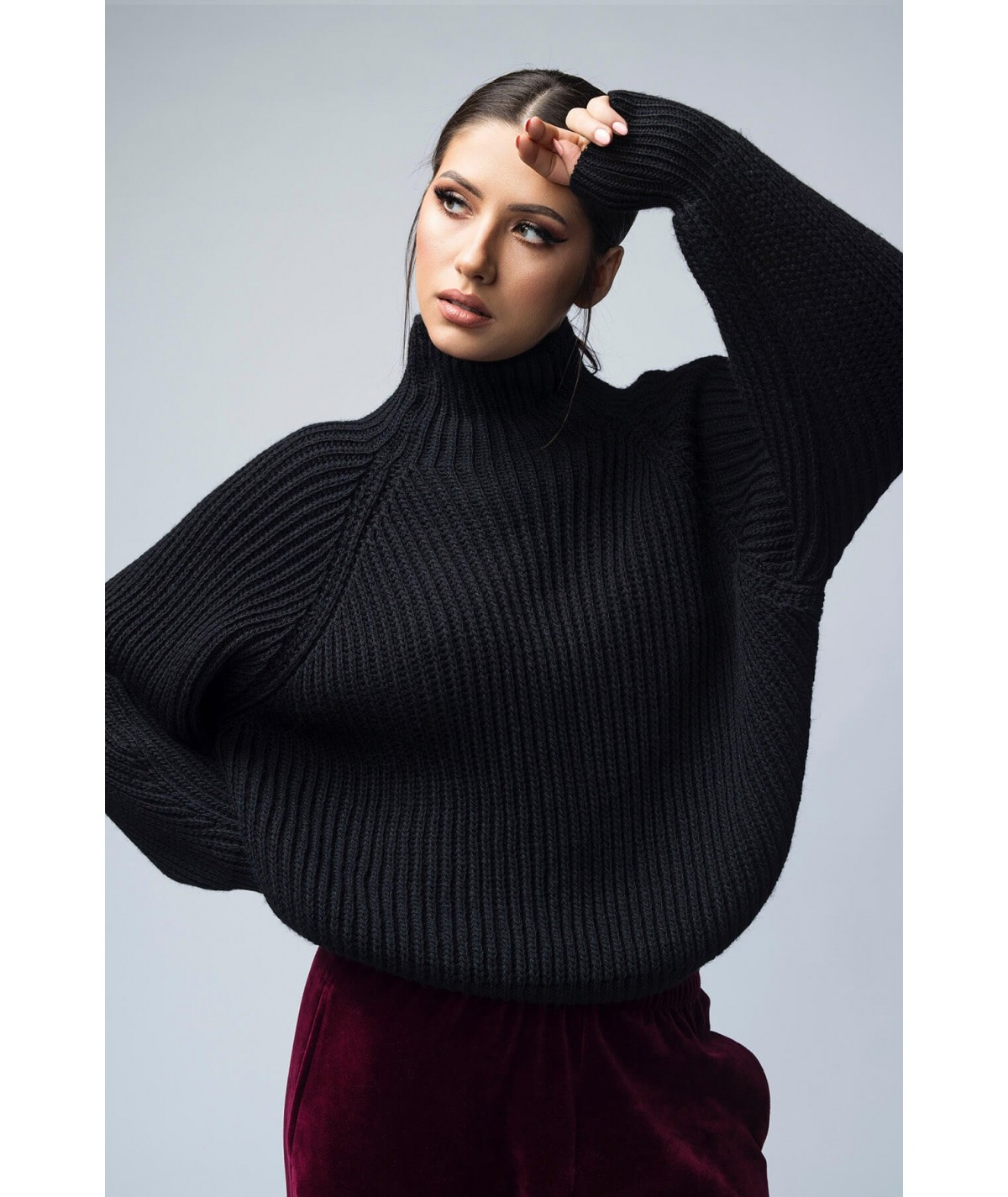 Women's sweater with high...
