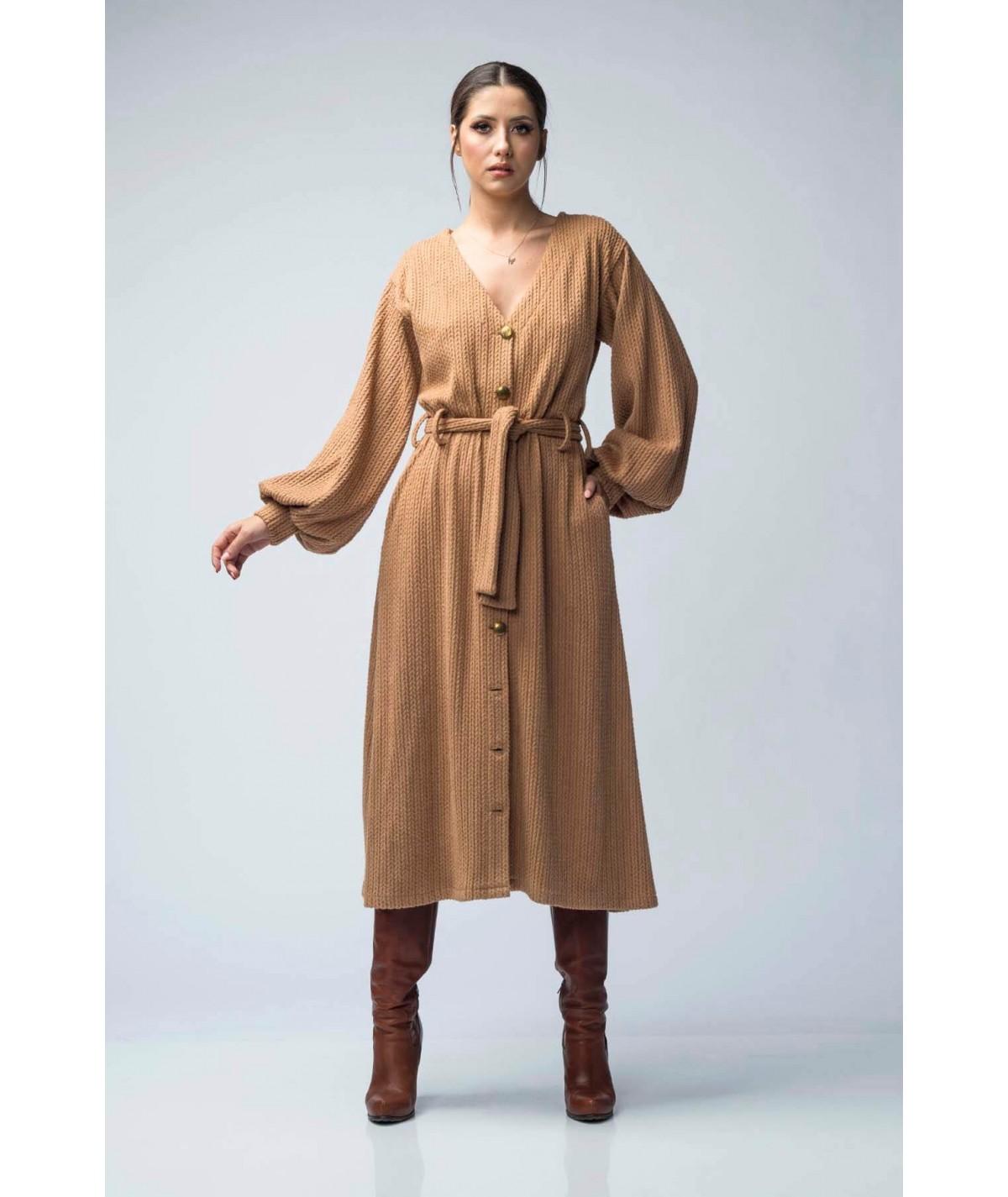 Long textured knit dress -...